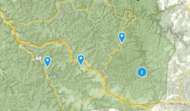 Pine Ridge, Kentucky Waterfall Map