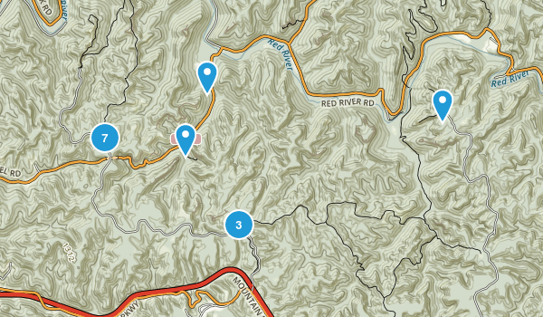 Stanton, Kentucky Hiking Map