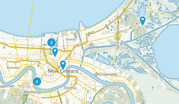 New Orleans, Louisiana Dogs On Leash Map