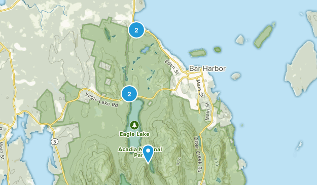 Bar Harbor, Maine Mountain Biking Map