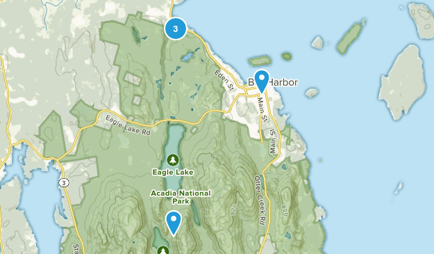 Bar Harbor, Maine Road Biking Map