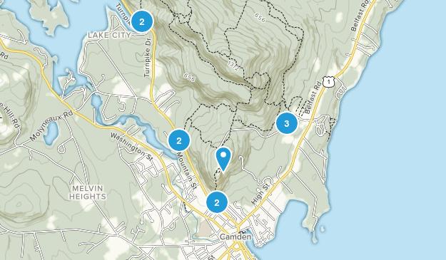 Camden, Maine Nature Trips Map