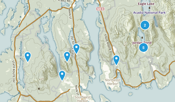 Mt Desert, Maine Lake Map
