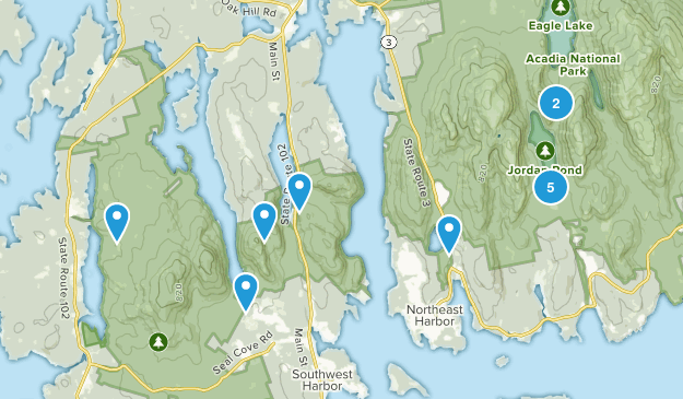 Mt Desert, Maine Lake Map