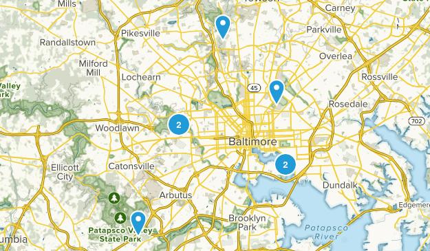 Baltimore, Maryland Trail Running Map