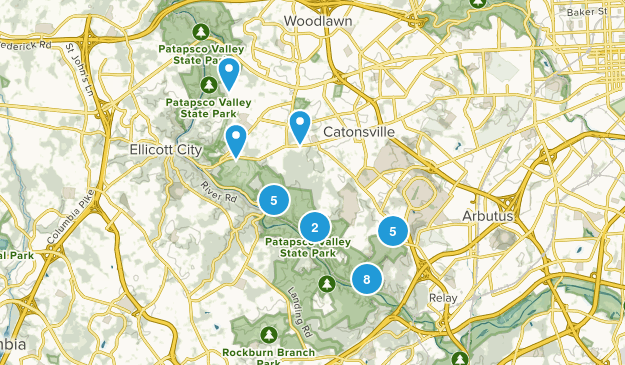 Catonsville, Maryland Hiking Map