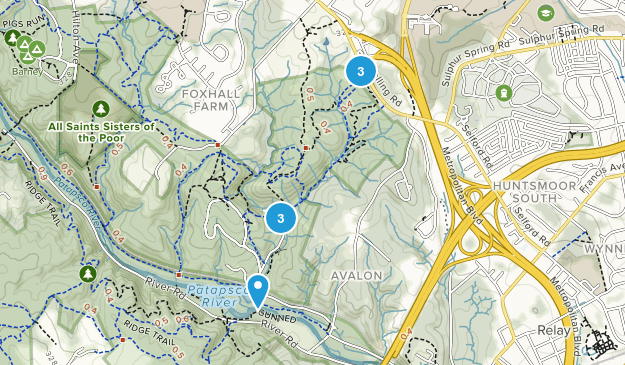Catonsville, Maryland Mountain Biking Map