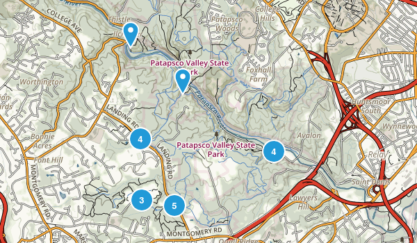 Ilchester, Maryland Hiking Map