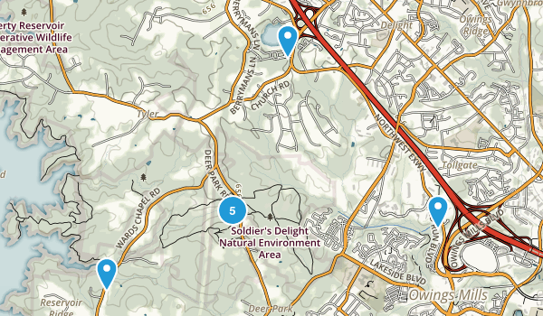 Owings Mills, Maryland Hiking Map