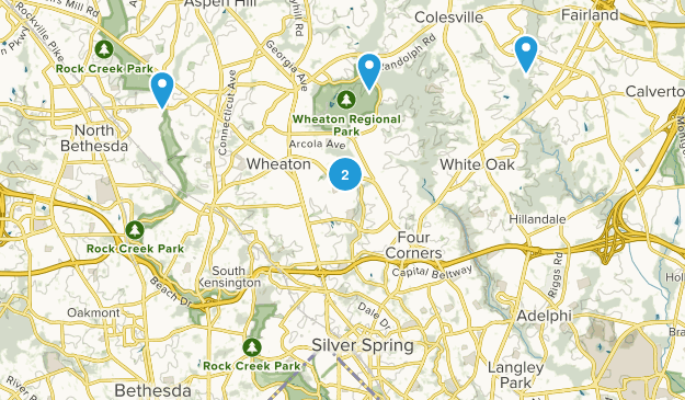 Silver Spring, Maryland Dogs On Leash Map