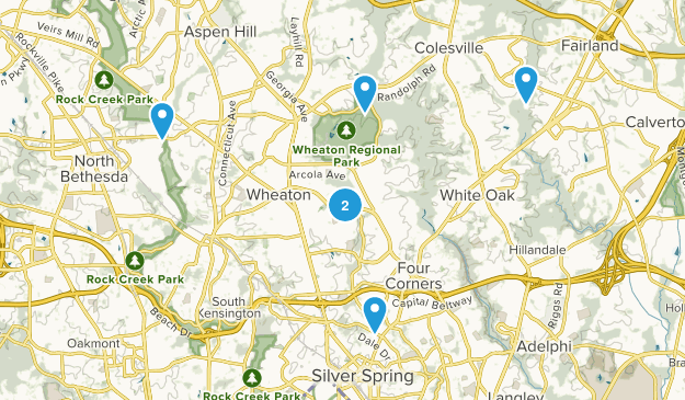 Silver Spring, Maryland Hiking Map