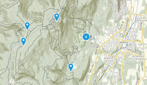 Adams, Massachusetts Hiking Map