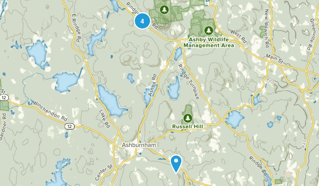 Ashburnham, Massachusetts Hiking Map