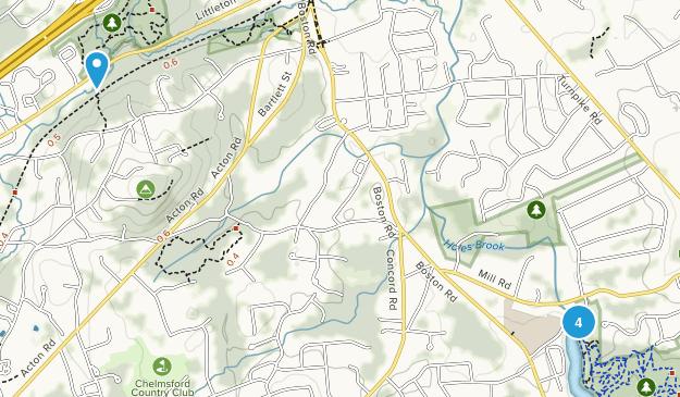 Chelmsford, Massachusetts Snowshoeing Map