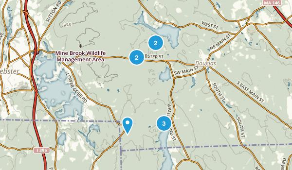 Douglas, Massachusetts Hiking Map