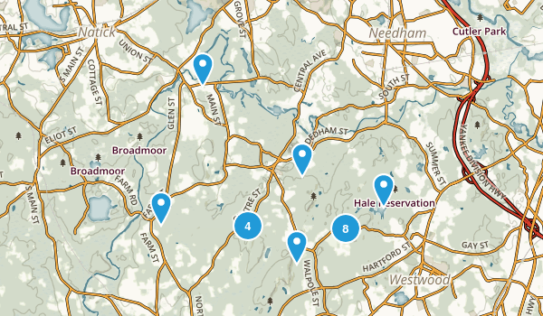 Dover, Massachusetts Hiking Map