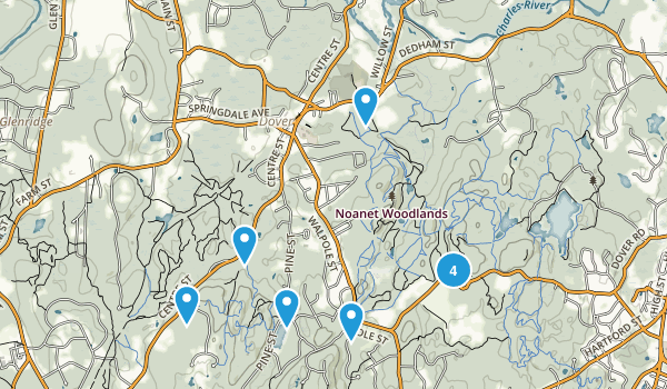 Dover, Massachusetts Snowshoeing Map