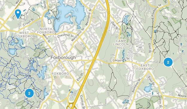 Foxborough, Massachusetts Dogs On Leash Map
