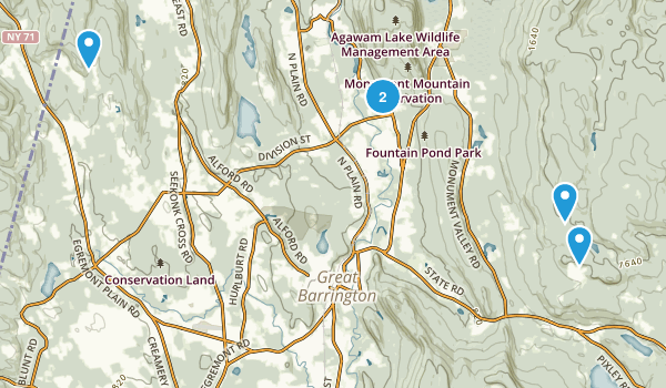 Great Barrington, Massachusetts Snowshoeing Map