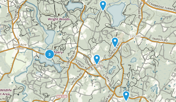 Lincoln, Massachusetts Trail Running Map