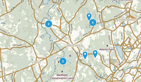 Medfield, Massachusetts Snowshoeing Map