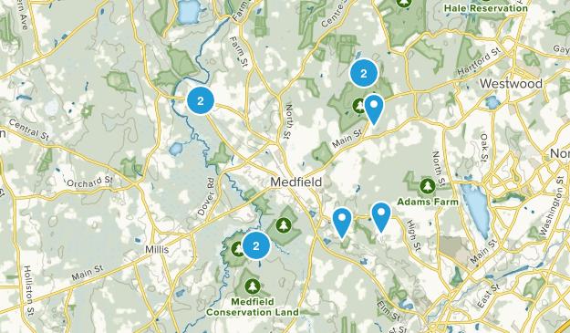 Medfield, Massachusetts Snowshoeing Map