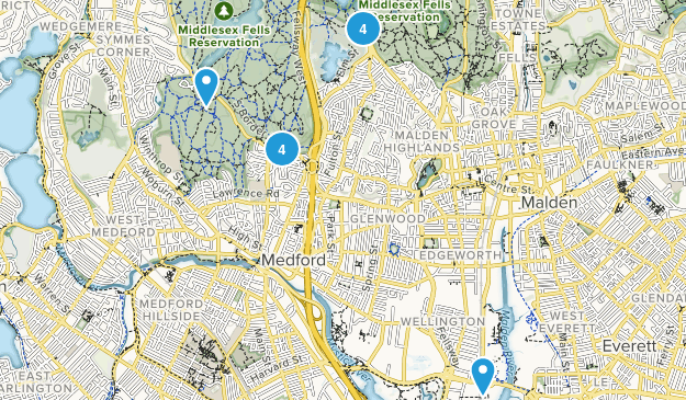 Medford, Massachusetts Dogs On Leash Map