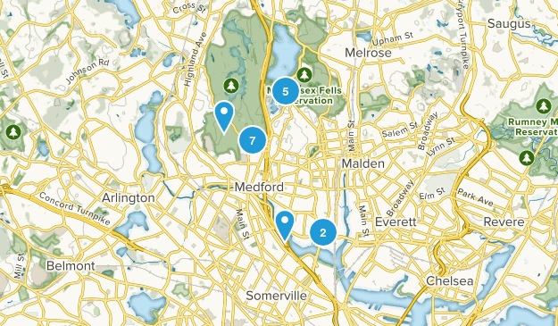Medford, Massachusetts Nature Trips Map