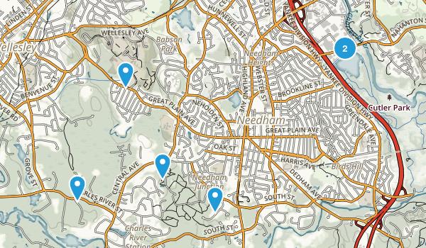 Needham, Massachusetts Trail Running Map