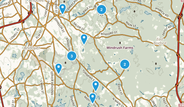 North Andover, Massachusetts Hiking Map
