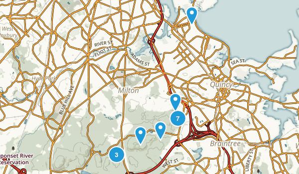 Quincy, Massachusetts Hiking Map