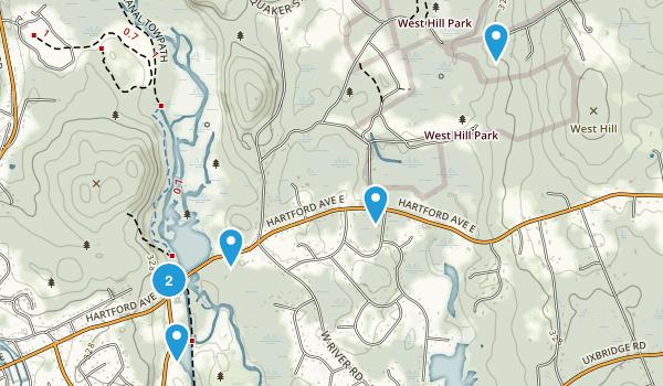 Uxbridge, Massachusetts Hiking Map