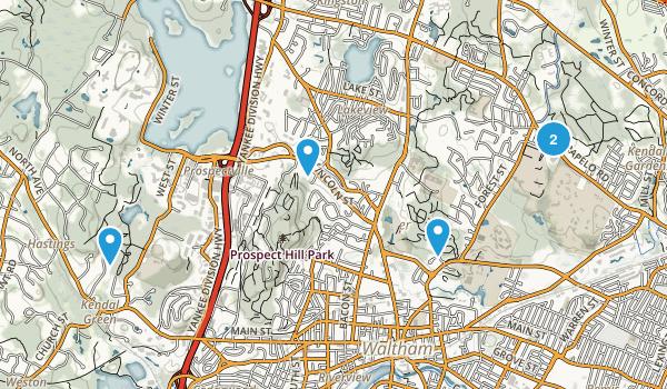 Waltham, Massachusetts Hiking Map