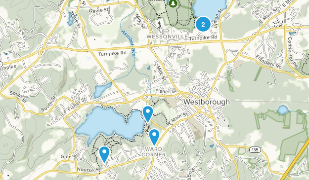 Westborough, Massachusetts Hiking Map