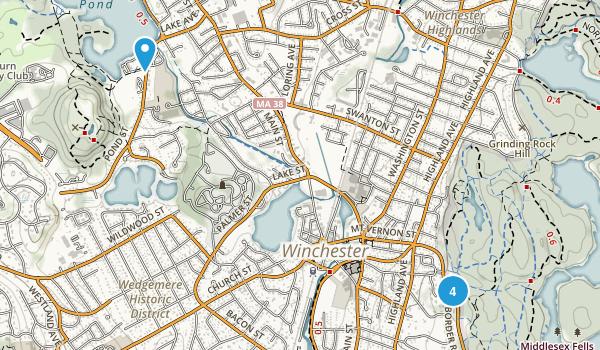 Winchester, Massachusetts Trail Running Map