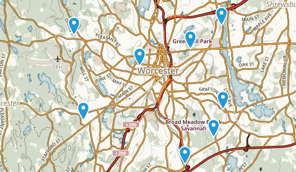 Worcester, Massachusetts Nature Trips Map