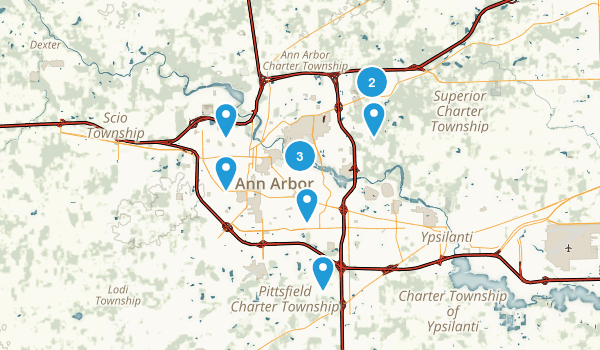 Ann Arbor, Michigan Dogs On Leash Map