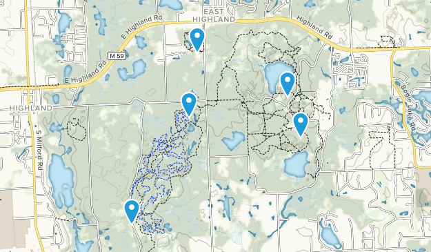 Highland, Michigan Hiking Map