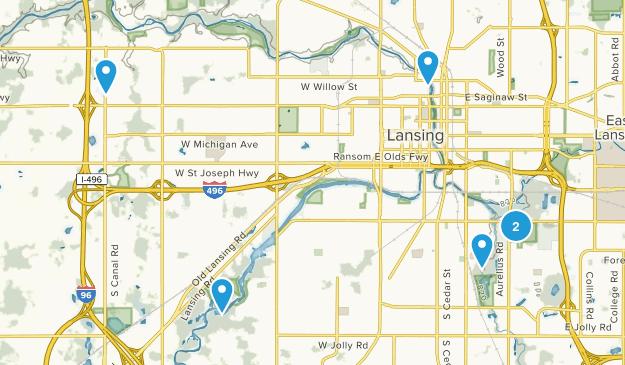 Lansing, Michigan Hiking Map