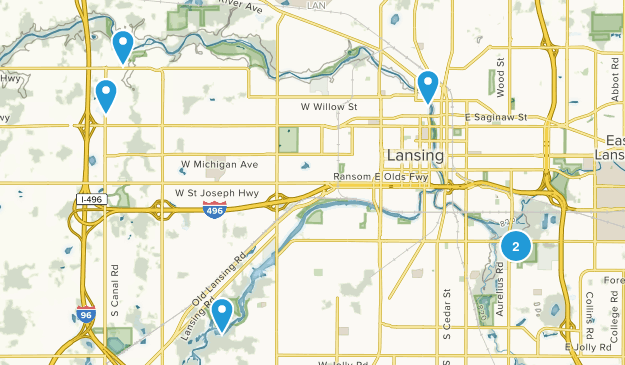Lansing, Michigan Trail Running Map