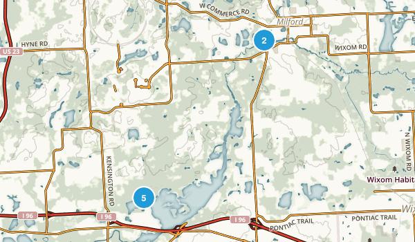 Milford, Michigan Hiking Map