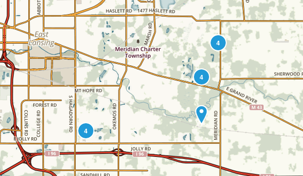 Okemos, Michigan Dogs On Leash Map