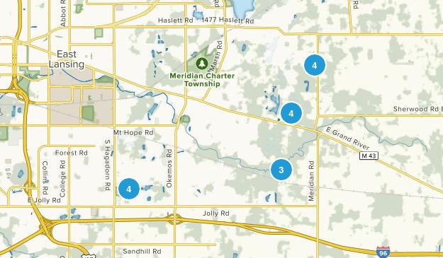 Okemos, Michigan Hiking Map