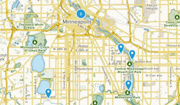 Minneapolis, Minnesota River Map