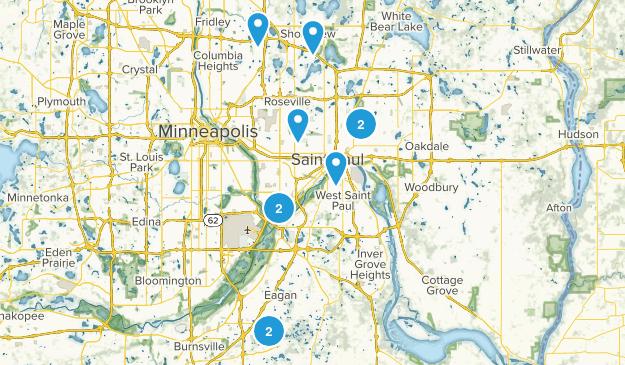 St Paul, Minnesota Trail Running Map