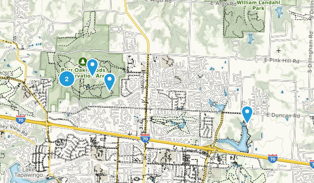 Blue Springs, Missouri Hiking Map