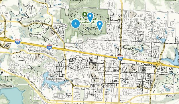 Blue Springs, Missouri Nature Trips Map