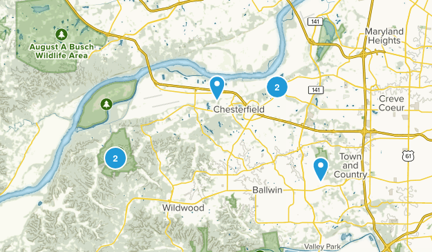 Chesterfield, Missouri Dogs On Leash Map