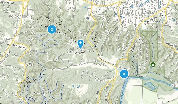 Glencoe, Missouri Hiking Map