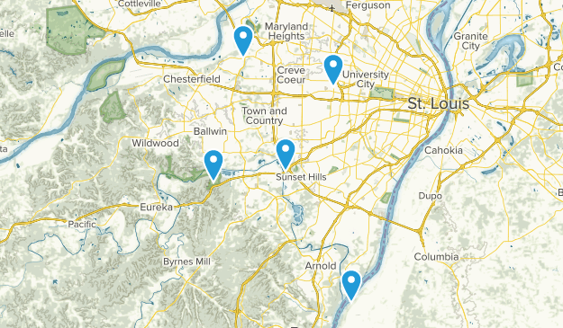 Saint Louis, Missouri Hiking Map